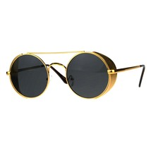 Steampunk Side Cover Sunglasses Round Metal Flat Top Bridge UV 400 - $13.95