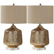 PAIR URBAN MOROCCAN TEXTURED METALLIC GOLD CERAMIC TABLE LAMP CRYSTAL BASE  - $497.20