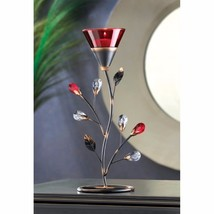 Ruby Red Flower Blossom Tealight Candle Holder Jeweled Stem - $12.69