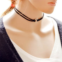 BLACK CHOKER PEACE SIGN NECKLACE   #9718   >> COMBINED SHIPPING - $3.75