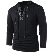 Lace Up Faux Leather Insert Hoodie(BLACK M) - $21.38
