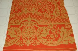 Vintage Fall Orange and Gold Large Woven Coverlet Piece Great for Pumpkins - $29.50