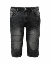 Men's Distressed Denim Faded Wash Slim Fit Moto Quilt Skinny Jean Shorts image 2