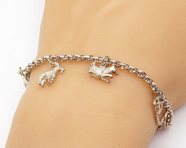925 Sterling Silver - Vintage Assorted Animal Charmed Chain Bracelet - B... - $31.92