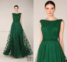 Emerald Green Prom Dresses Formal Evening Gowns Tulle Flower Wedding Par... - $93.14
