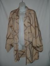 Authentic Handmade Short Kimono Jacket Silk Plaid Beige Green Coat - $28.04