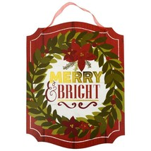 """Merry & Bright Christmas Decor Wreath Winter Hanging Sign 13.5"""" w - $5.99"""