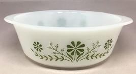 Vintage Ovenware Glasbake casserol Jennette Green Daisy Flowers USA 2 Qu... - $9.50