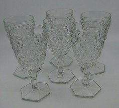 Water Goblet Vintage Fostoria Hex Base 6 7/8 Stemware American Pattern Set Of 6 - $52.99