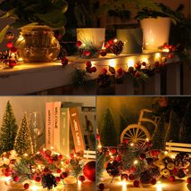 6.5 FT 20 LED Christmas Garland with Lights, Red Berry Pine Cone Garland... - $30.99