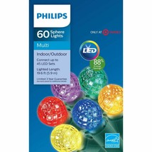 Philips 60ct Christmas LED Faceted Round Sphere C5 String Lights Multicolored image 2