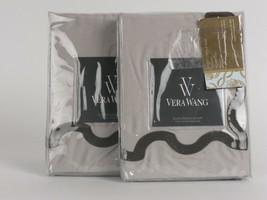 2 Vera Wang Damask Ribbon Embroidered Euro shams Taupe Brown $420 - $58.15