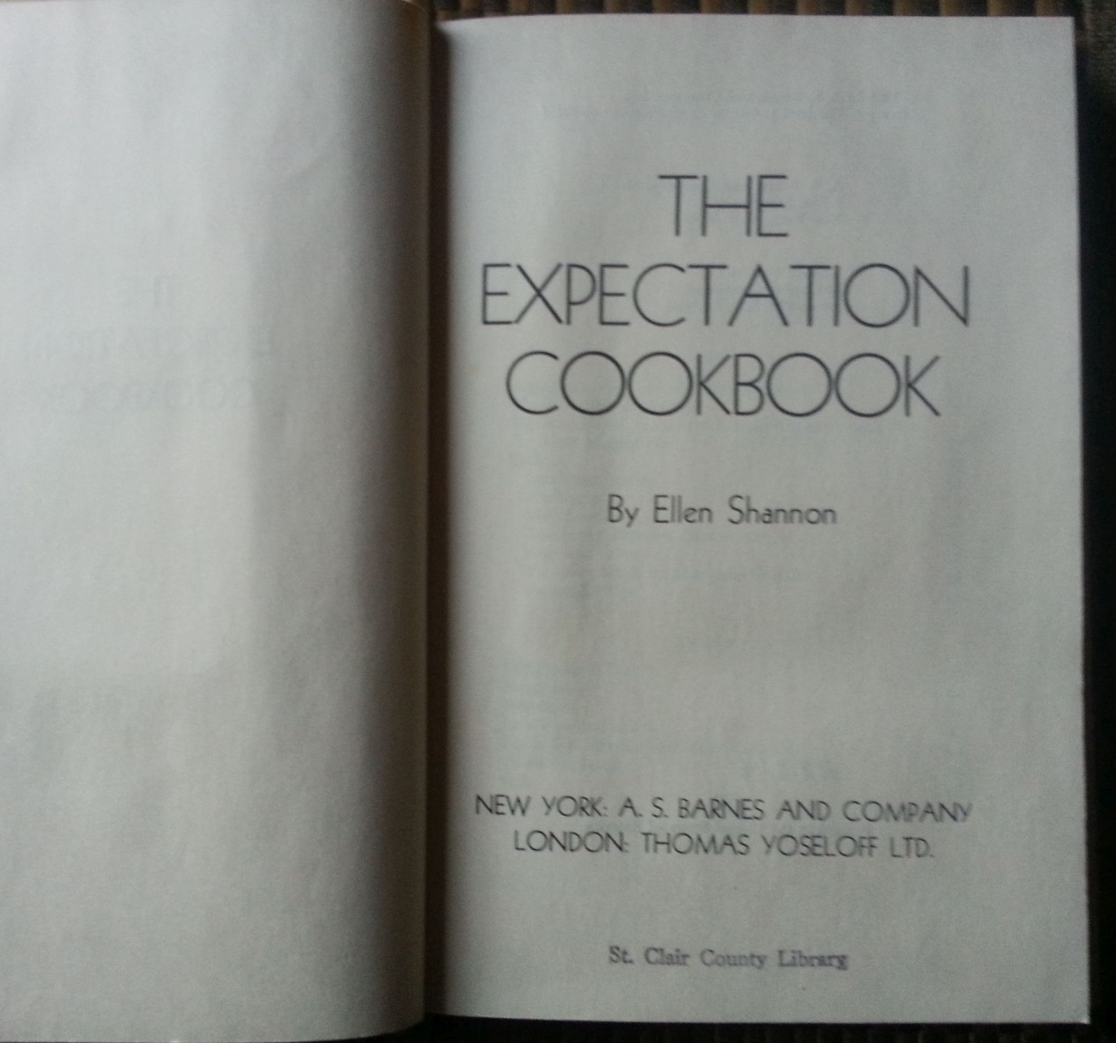 The Expectation Cookbook by Ellen Shannon 1965 HBDJ