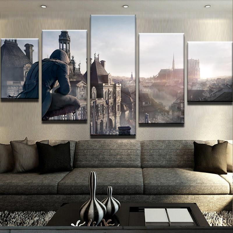 Art In Home Decor | Framed 5 Panel Assassin S Creed City View Canvas Painting Wall Art