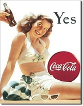 Coca Cola Coke Yes White Bathing Suit Advertising Vintage Retro Metal Ti... - $14.99