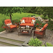 Outdoor Patio Furniture Set Table Loveseat 2 Armchairs Comfortable Heavy... - €788,93 EUR