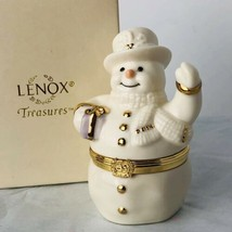 Lenox Treasures The Spirit Of The Season Hinged Trinket Box 1999 Snowman... - $21.52