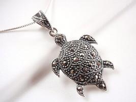 Marcasite Sea Turtle Pendant 925 Sterling Silver Corona Sun Jewelry ocean boat - $13.85