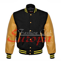 Original American Varsity Real Leather Letterman College Black Wool Jacket - $87.00