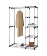 Double Rod Closet Organizer Freestanding Portable Rack Wardrobe Storage ... - £46.97 GBP