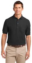 Port Authority TLK500P Tall Men's Silk Polo Shirt - Black - $17.98+