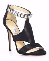 NEW JIMMY CHOO  Black Halo Shimmer Suede Crystal-Strap Sandals (Size 41)... - $499.95