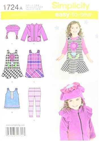Primary image for Simplicity Easy-to-Sew Pattern 1724 Toddlers Jumper or Top, Jacket, Fleece Hat a