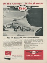 1953 Esso Aviation Products Ad Airplane Gas Oil Fuel Truck on Runway - $9.99