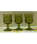 Vintage Indiana Glass Green Cordial Glasses Kings Crown Design Mid Century  - $12.00