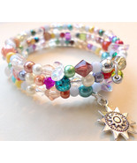 Memory Wire Bracelet With Multi-Colored Beads And Silver Sun Charm - 3 L... - $14.00
