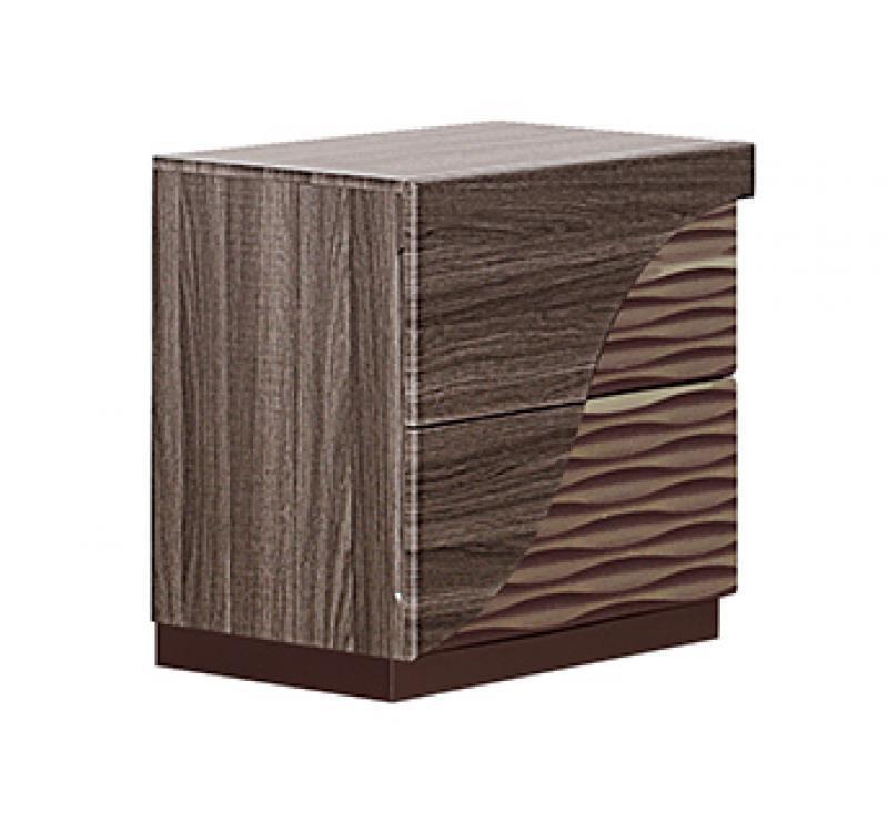 Luxe Zebra Wood & LED Accent Queen Size Bedroom Set 5Pcs