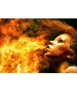 Fantasy art picture girl breathing fire thumbtall