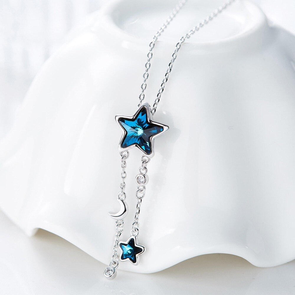 Cdyle Embellished with crystals from Swarovski Women Necklace Pendant Blue Star  image 3