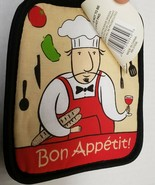 "Set of 2 Printed JUMBO Pot Holders, 7""x8"", FAT CHEF,BON APPETIT, w/black... - $8.90"