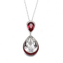 AUTHENTIC SWAN SIGNED SWAROVSKI FEEL SIAM RED PENDANT NECKLACE 5236077 NIB - $90.00