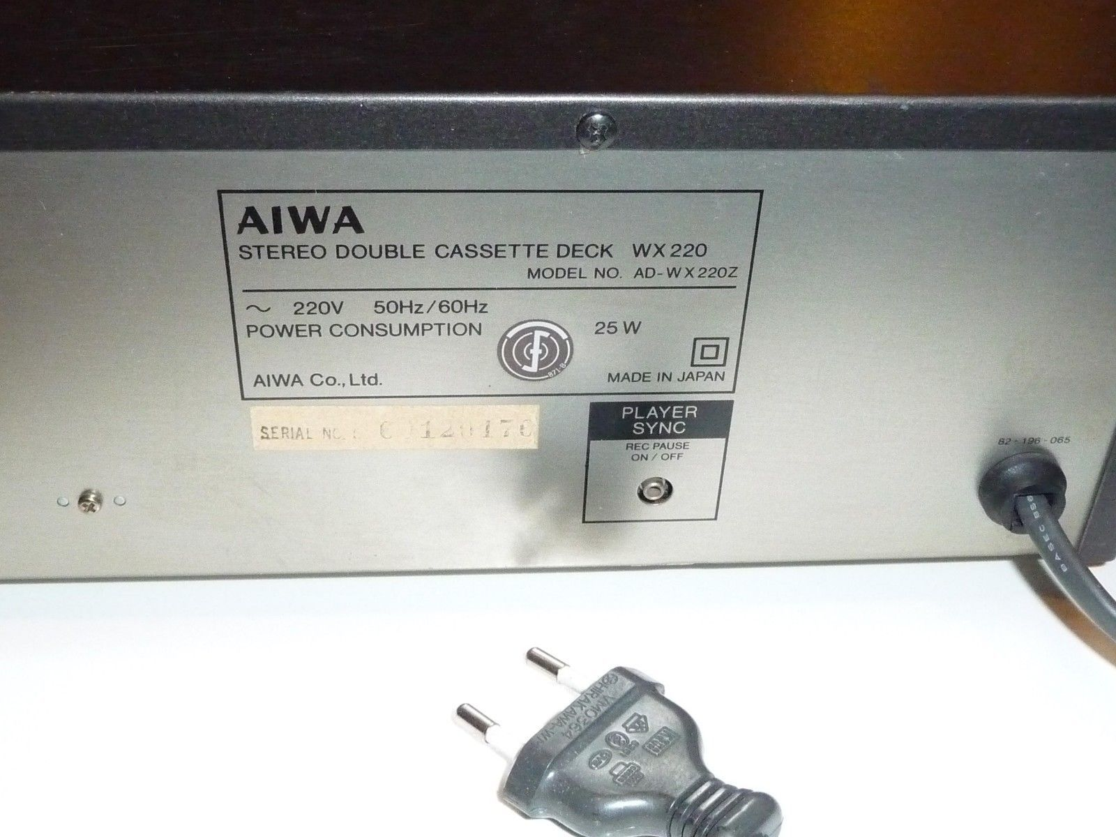 AIWA AD-WX 220 Stereo Double Cassette Deck High Precision Double Speed 220V