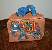 "Handmade Ceramic Box Trinket ""Indian Royal Elephants"" , One of a kind , ... - $49.15 CAD"