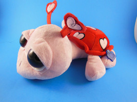 """Applause Peepers Pink & Red Turtle with Large Eyes 12"""" Hearts Valentine'... - $21.77"""