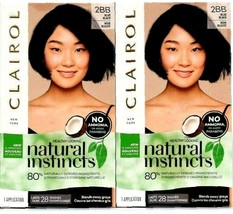 2 Clairol Natural Instincts 2BB Blue Black Hair Color-NO Conditioners In Box - $16.80
