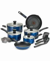 T-fal Cook & Strain 14 Pc Non-Stick Cookware Set Pro-Glide Pouring Spouts Blue