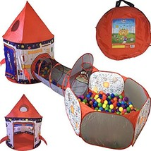 Playz 3pc Rocket Ship Astronaut Kids Play Tent, Tunnel, & Ball Pit with ... - $59.05