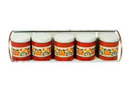 Vintage Retro Spice Rack - Set of 5 Small Red Floral Metal Tins - £17.94 GBP