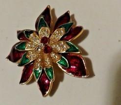 Vintage W Lind LARGE Flower Brooch Enamel w/Rhinestones Gold-tone-Signed-1960's - $34.65