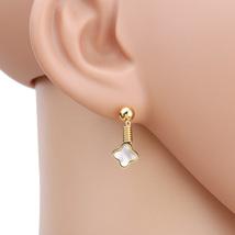 UE- Petite Gold Tone Designer Clover Earrings With Faux Mother of Pearl Inlay - $14.99