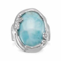.925 Sterling Silver Larimar Leaf Design Women's Ring - $183.56