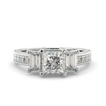 2.56 ct Ring Princess Classic Moissanite Cut & Round Diamond 18k White Gold - $3,668.00