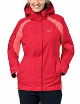 Jack Wolfskin Esmeraldas Texapore Waterproof Shell Rain Jacket Tulip Red... - $85.49