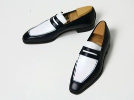 Handmade Men's Black And White Leather Slip Ons Loafer Shoes image 1
