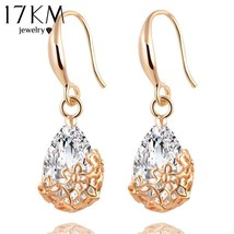 17KM® New High Quality Classic Romantic Gold Silver Crystal Drop Earring... - $5.65