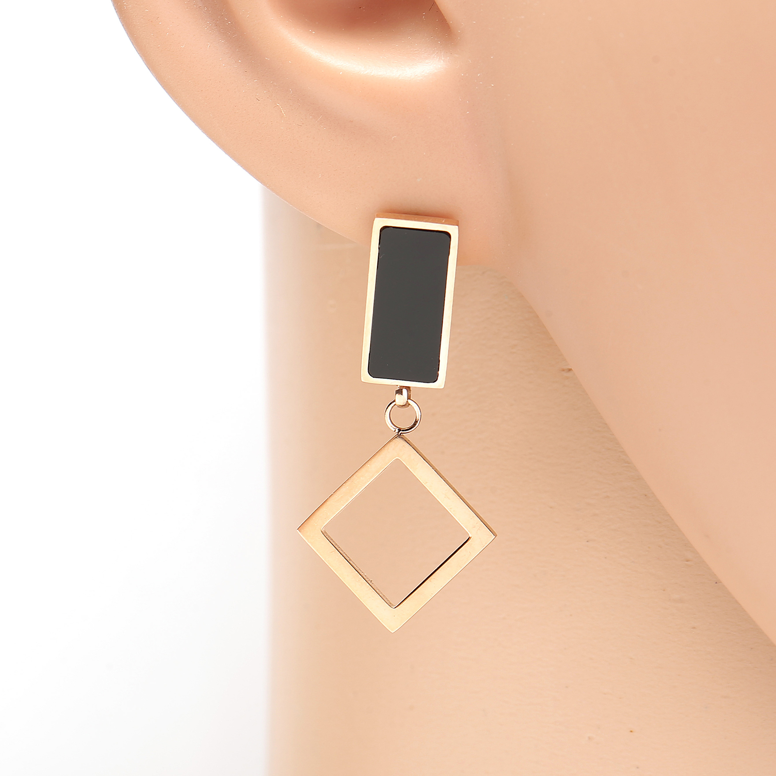Primary image for Rose Tone Designer Drop Earrings, Jet Black Inlay & Dangling Geometric Accent